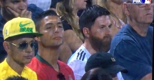 Ronaldo Messi Neymar spotted in stadium