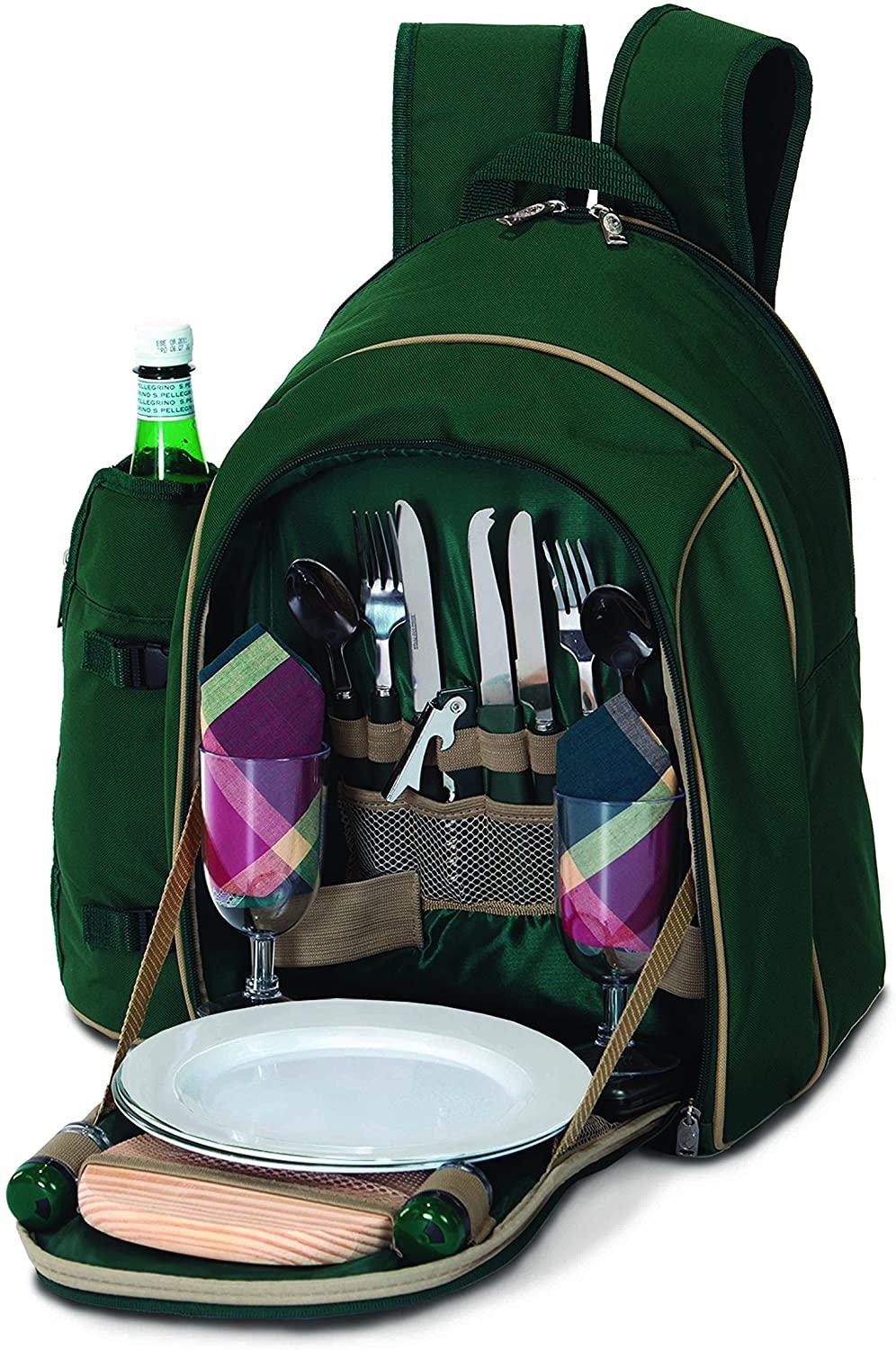 Picnic Plus Wine & Picnic Backpack for 2 with Insulated Food Compartment | RJ Julia Booksellers