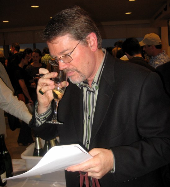 yours truly nosing a glass of Champagne