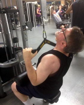 RJ getting a pump on at Gold's Gym, photo by James Hurst