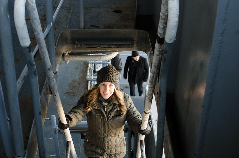 julie on ladder