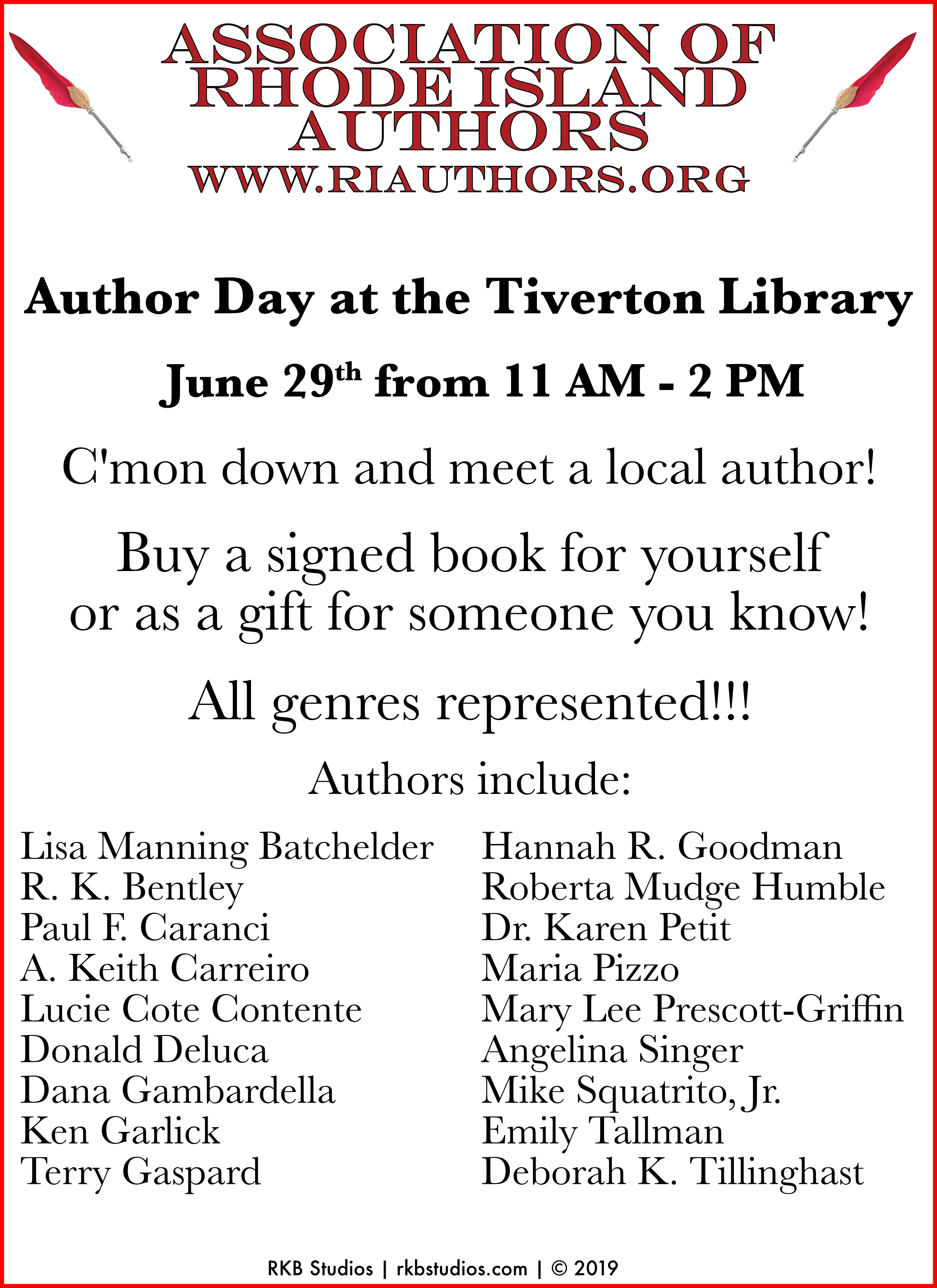 Digital Flyer for Author Day at Tiverton Library