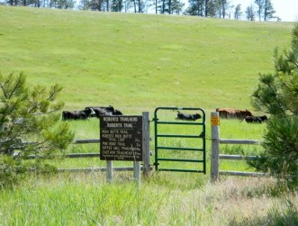 Entrance to Roberts Trailhead. Cows are brought to pasture here.