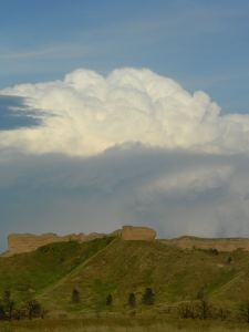 Thunderhead over the eastern butte