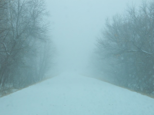 limited visibility due to snow and fog.
