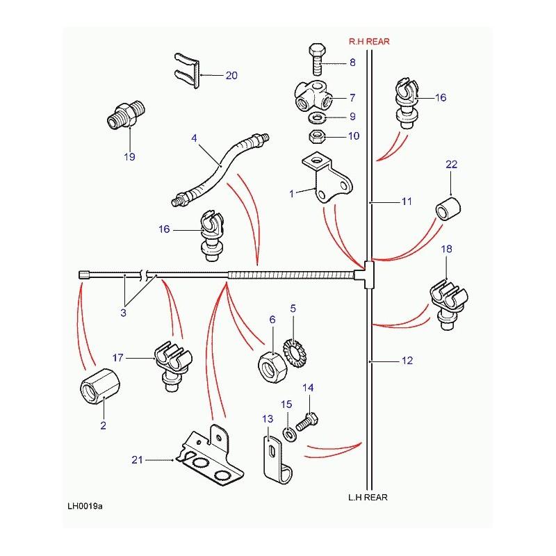 Commander support tuyau de frein Defender 90, 110, 130 et