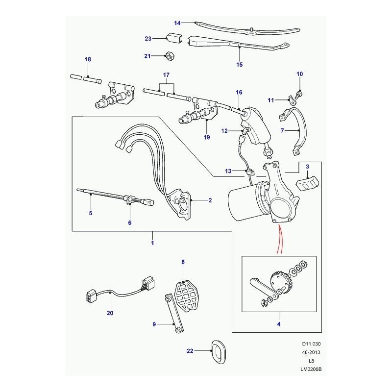 Commander support moteur d'essuie-glace Defender 90, 110