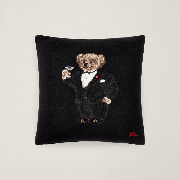martini polo bear throw pillow