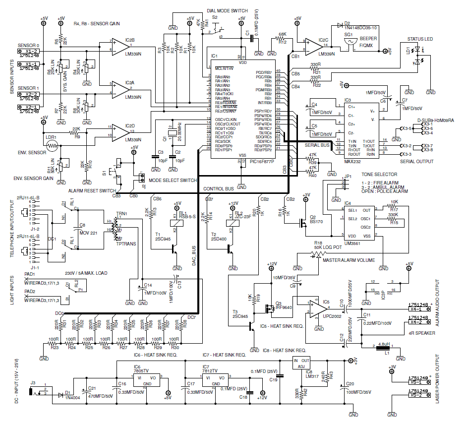 Programmable Home Security Alarm System. Part 1. Schematic
