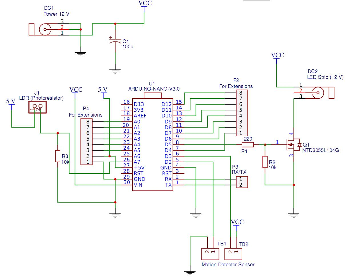 hight resolution of  ontroller for automatic lighting of the working area in the kitchen schematic