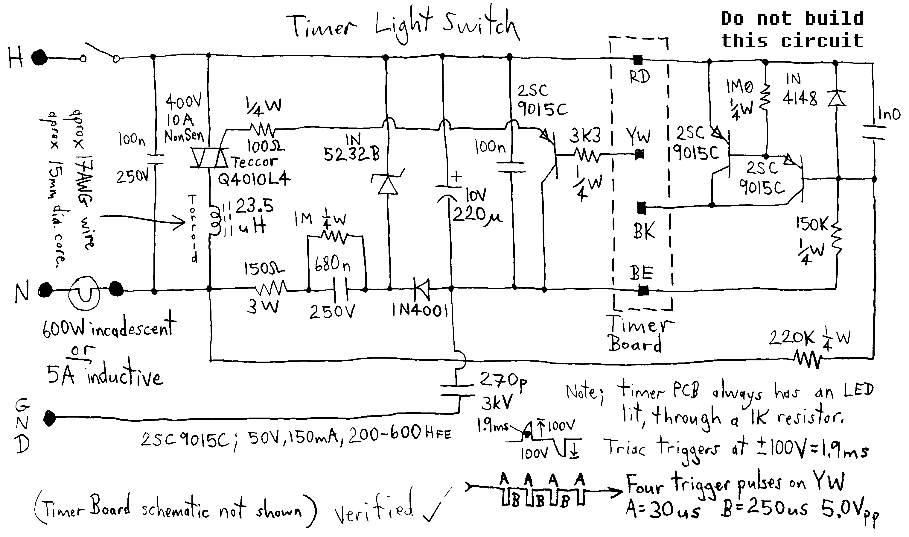 Timer Switch Circuit Diagram