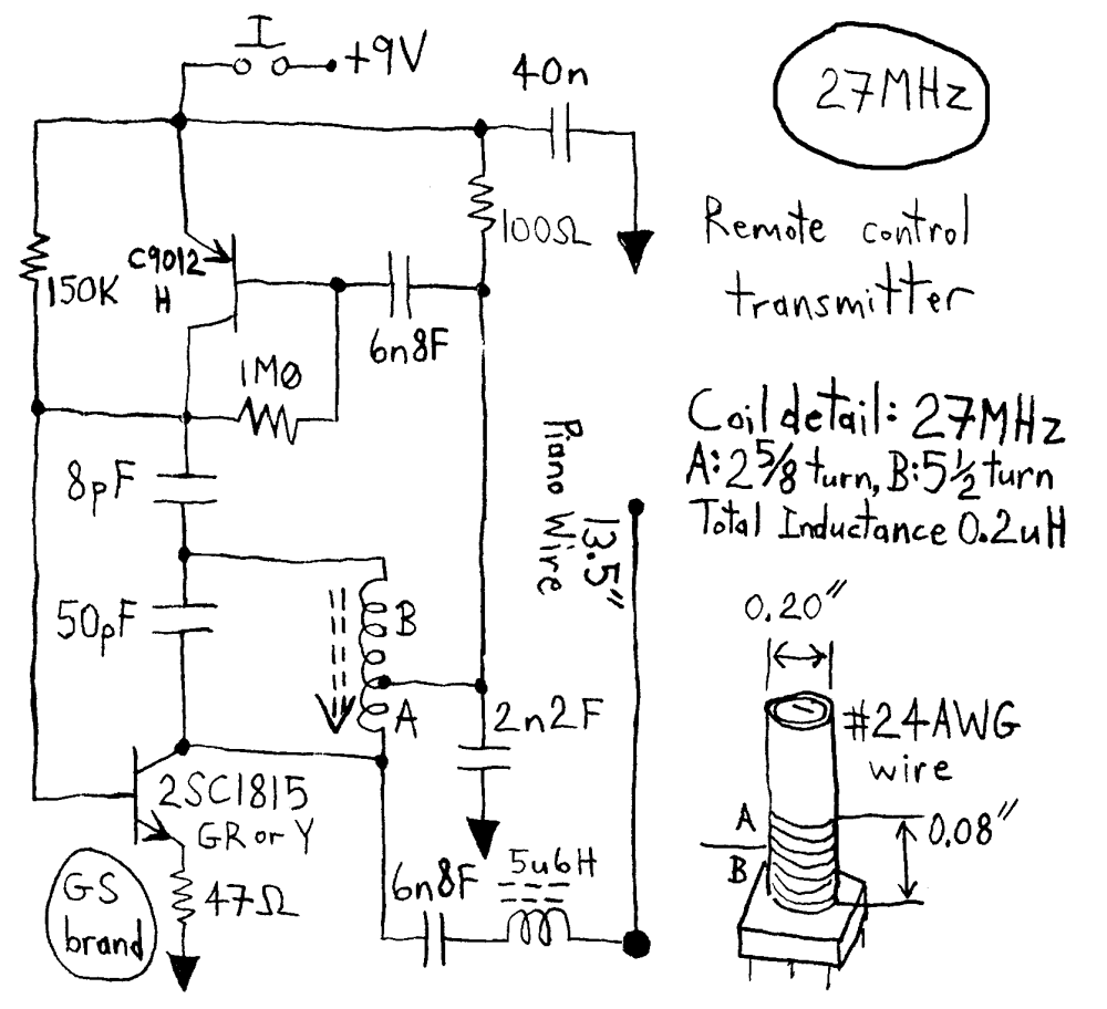 medium resolution of simple rc cars single channel transmitters and super regenerative looking for circuit diagram for 27mhz 40mhz or 49 mhz rc