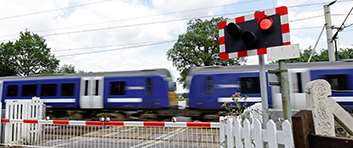 Level crossing with train