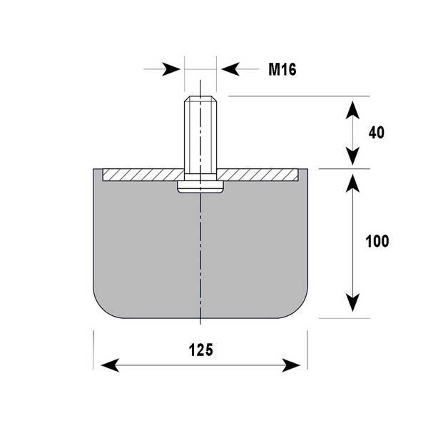 Tampon    amortisseur cylindrique caoutchouc Ø125 x 100 mm • Tige filetée M16 x 25 mm