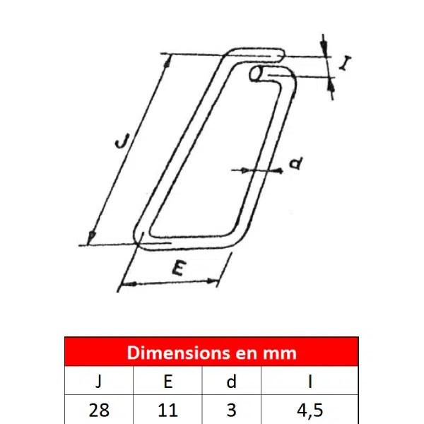 Linguet            de sécurité en fil d'acier • Type 28