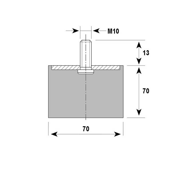 Tampon             amortisseur cylindrique caoutchouc Ø70 x 70 mm • Tige filetée M10 x 30 mm