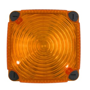 Feu double flash LED orange  carré pour fixation sur fond plat