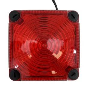Feu double flash LED rouge carré pour fixation sur fond plat
