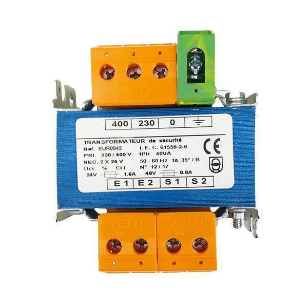 Transformateur monophasé de sécurité 230/400VAC • Puissance            40 VA