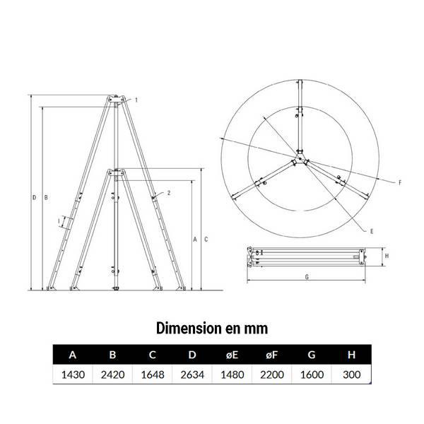 Tripode 1 000kg levage de 1,43 m à 2,42 m