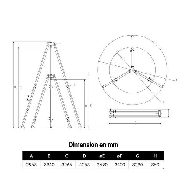 Tripode 3 000kg levage de 2,9 m à 3,9 m