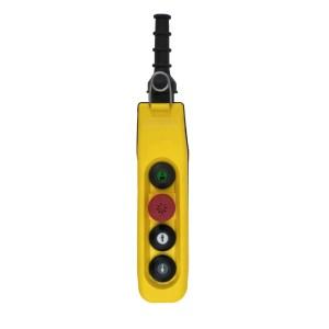 Boîte à boutons 2 boutons (1 cran) + 1 arrêt d'urgence + Marche/Klaxon  pour circuit de commande