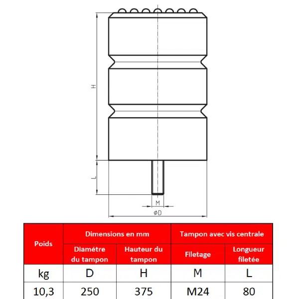 Tampon    amortisseur en polyuréthane élastomère M24 x 80 • Ø250 x 375 mm