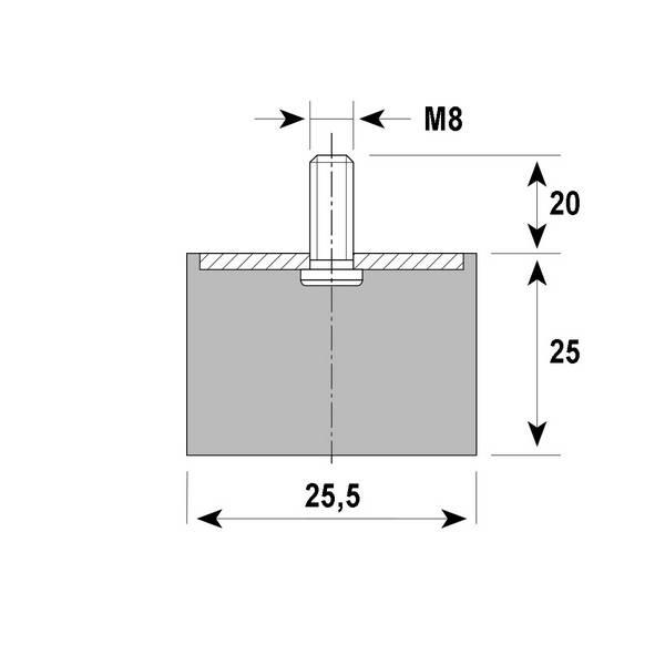Tampon                         amortisseur cylindrique caoutchouc Ø25,5 x 25 mm • Tige filetée M8 x 20 mm