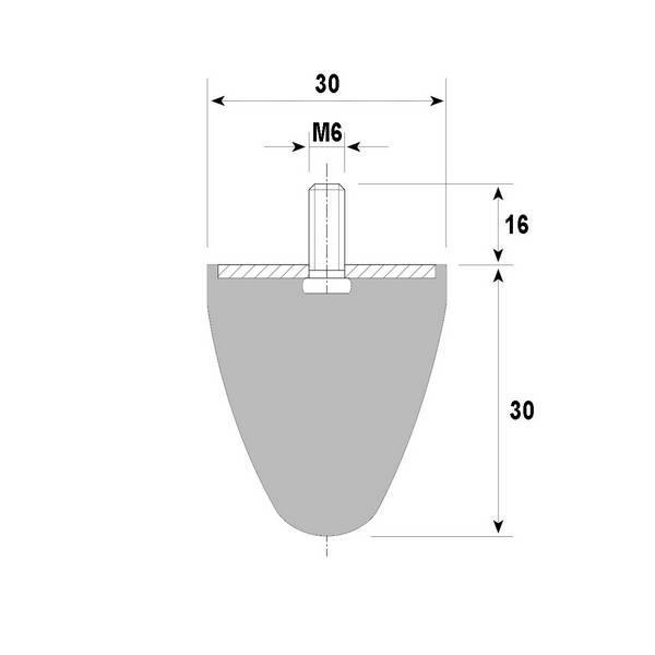 Tampon amortisseur conique caoutchouc Ø30 x 30 mm • Tige filetée M6 x 16 mm