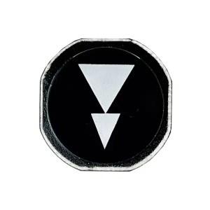 Etiquette de bouton flèche double blanche sur fond noir vertical