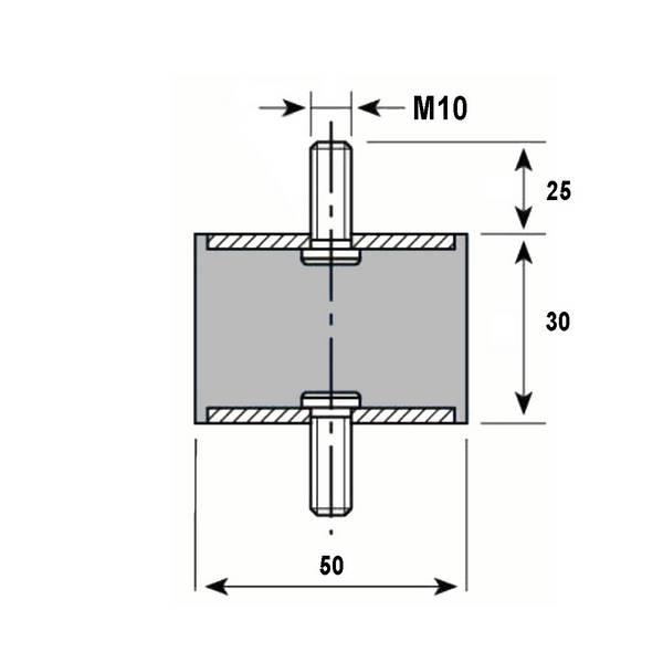 Tampon caoutchouc Silentbloc Ø 50 x 30 mm • 2 Tiges filetées M10 x 25 mm