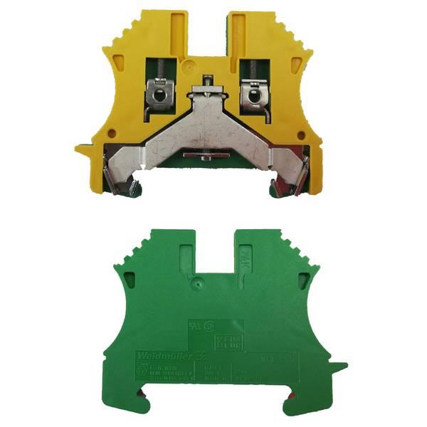 Borne de terre pour montage sur rail oméga pour fil 6 mm² (serrage par vis)