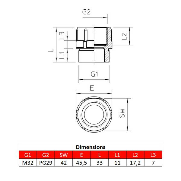 Adaptateur • M32 – PG29 • pour presse-étoupe