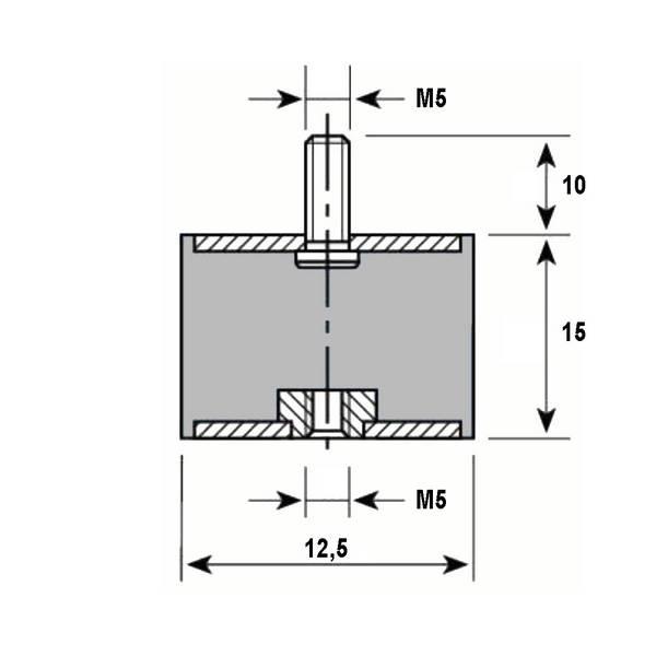 Tampon caoutchouc Silentbloc Ø 12,5 x 15 mm • 1 Tige filetée M5 x 10 mm et 1 taraudage M5