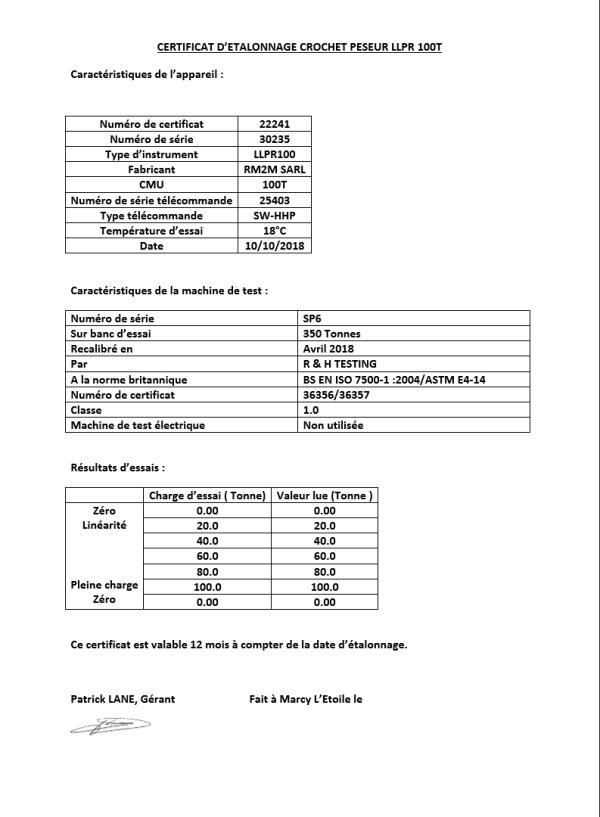 Certificat d'étalonnage pour peson LLP inférieur à 100 t