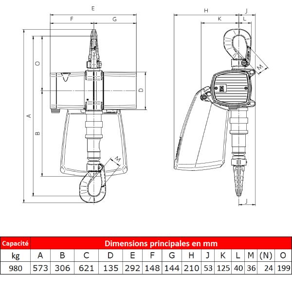 Palan              pneumatique J.D. Neuhaus ATEX • Spéciale alimentation et industrie pharmaceutique • 980 kg