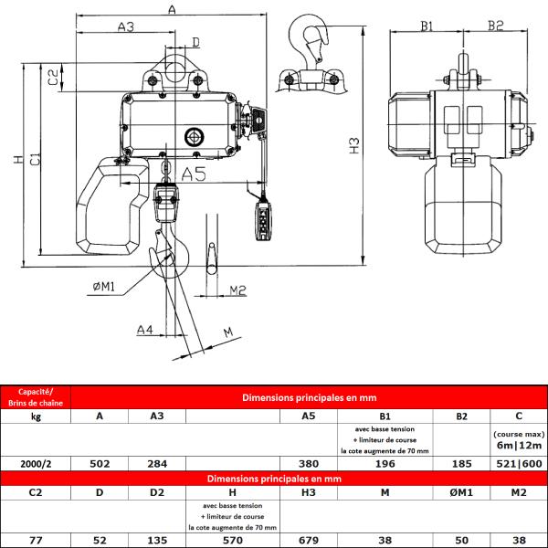 Palan électrique HADEF 2 000 kg