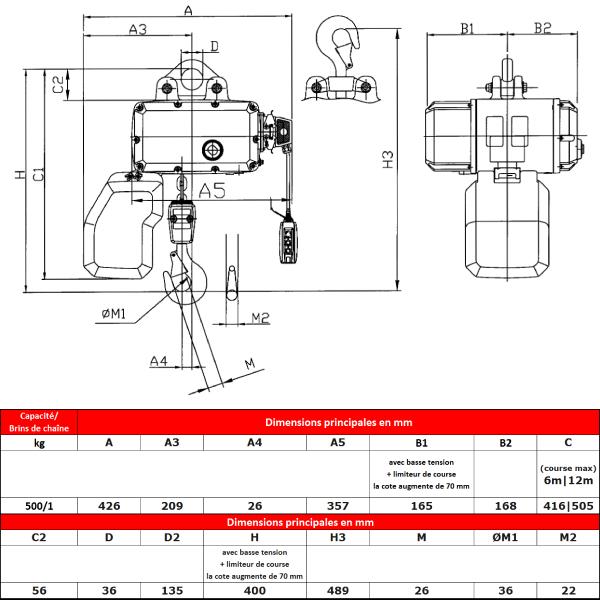 Palan électrique HADEF  500 kg