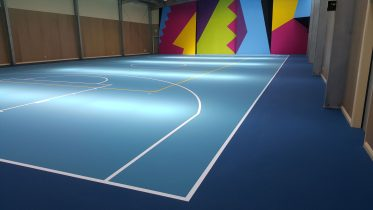 Blue Pulastic synthetic indoor sports surface