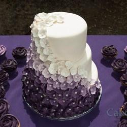 3 Tier Wedding Cake With Purple Flowers Gardening Flower And