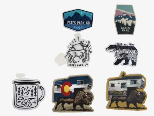 Estes Park, Colorado Vinyl Die Cut quality stickers. Made in USA. Waterproof 3 to 5 year outdoor rating.