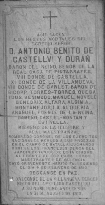 Lápida situada en  Iglesia de San Esteban de Valencia.