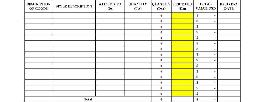 Pre-Cost Format, Work Order or Purchase Order format