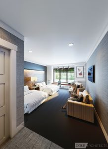 Interior rendering of guest room inside new Ronald McDonald House