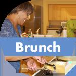 A volunteer makes brunch