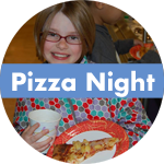 Child holding a slice of pizza