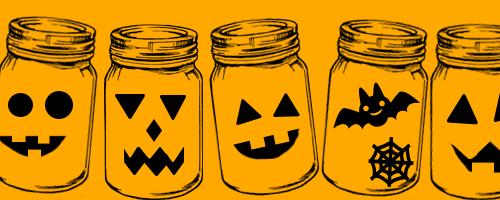 Jars with Jack-o-lantern faces