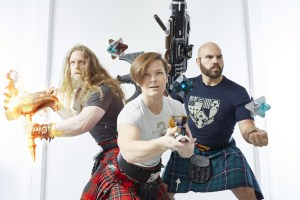 Participants from Bungie pose in kilts for the 2018 Men in Kilts competition.