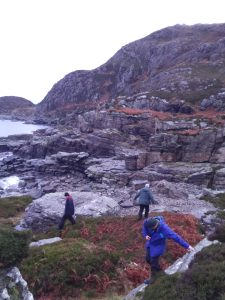 Descending to a survey site on Sleat