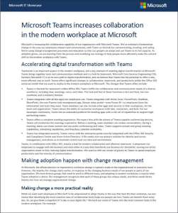Microsoft Teams increases collaboration in the modern workplace at Microsoft